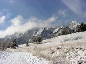 Flatirons in Boulder with snow